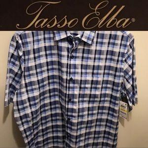Tasso Elba 100% Cotton Checker Short Sleeve Shirt